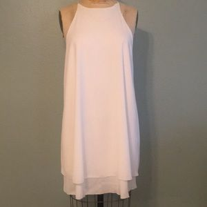 🔷 White sleeveless A-line party dress, Sz L NWT